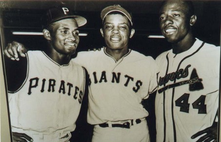 Roberto Clemente (from left) Willie Mays and Hank Aaron are clear examples of the innovation and elevation that could occur in baseball when cultures are bridged together.