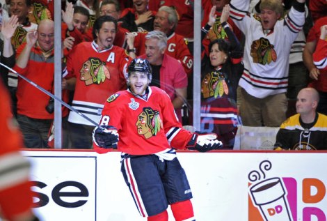 USATSI The Kane shrug? Patrick Kane enjoys his performance Saturday night as does the rest of the United Center. Kane scored the first two goals in a 3-1 Chicago Blackhawks victory over the Boston Bruins.