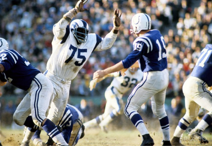 Johnny Unitas knew the business with Deacon Jones
