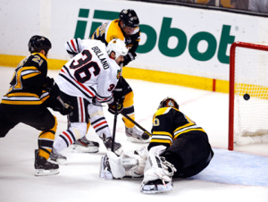 Jim Rogash/Getty Images Dave Bolland scores what would be the game-winner past Bruins goalie in the third period in Game 6 of the 2013 NHL Stanley Cup Final in Boston Monday night.