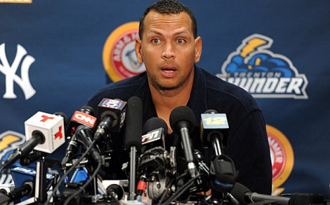 Joe Camporeale/USA TODAY Alex Rodriguez, then of the Trenton Thunder, answers the media after facing the Reading Fighting Phils Friday. Many more mics should be in front of A-Rod starting tonight.