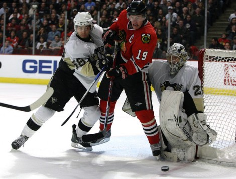 Kris Letang battles with Jonathan Toews in a recent battle between the Pittsburgh Penguins and the Chicago Blackhawks. These two teams will face off in one of the NHL's most hyped match ups of the coming season.