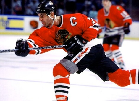 Hall of Fame defenseman Chris Chelios on the attack during his peak days playing for the Hawks in the 1990s.