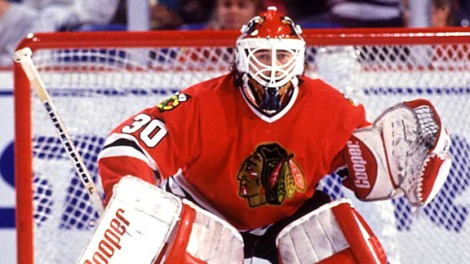 Jon Hayt/Getty Images Goaltender Ed Belfour stares out from his post. The Eagle helped define Blackhawk hockey in the 1990's with his excellent play.