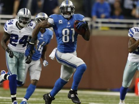 Julian H. Gonzalez/Detroit Free Press  Detroit Lions wide receiver Calvin Johnson breaks away from the Dallas Cowboys defense during his 329-yard receiving performance Sunday in a 31-30 win over the Boys.