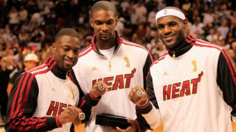 155022799 Getty Images  The Ring's The Thing: like they will do tonight, the Big 3 take their rings in a past opening night. But what chance does Miami have at an historic 3-peat?