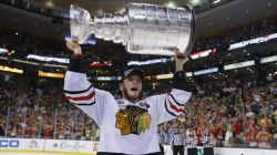 Brian Snyder/Reuters Toews celebrates with the Stanley Cup after defeating the Boston Bruins this past June.