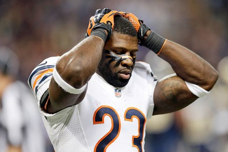 Nam Y. Huh/AP  Devin Hester holds his head in frustration after his punt return for a touchdown was called back due to a penalty last weekend against St. Louis.
