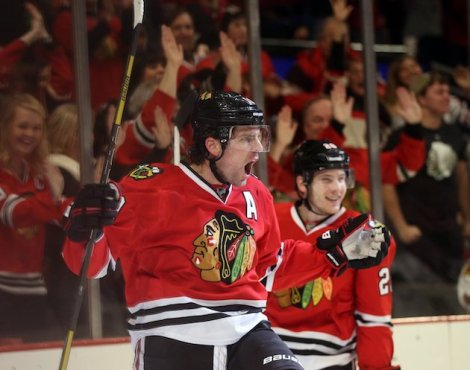 Brian Cassella/Chicago Tribune/MCT Patrick Sharp celebrates the first of his two first-period goals against Colorado Friday night.