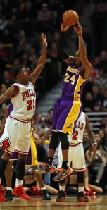 Jimmy Butler makes things tough for Kobe Bryant in Butler's breakthrough performance as part of the Bull's 95-83 win over the Lakers in January.