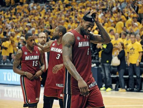 Michael Laughlin / South Florida Sun Sentinel The ultimate show of frustration: LeBron James takes off his headband while walking off the court after the Heat lost Game 6 of the Eastern Conference Finals to the Indiana Pacers, Saturday.