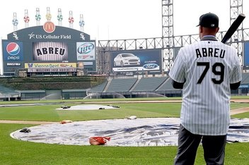 Courtesy of @WhiteSox  There's a new big bat in town: Cuban star Jose Abreu surveys his new surroundings upon being signed by the White Sox last fall.