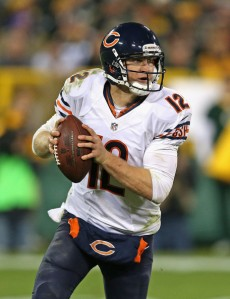 Jonathan Daniel/Getty Images Former Bears quarterback Josh McCown in action during one of his signature wins last season at Green Bay. McCown signed a new contract with the Tampa Bay Buccaneers on Wednesday.