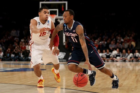 Bruce Bennett/Getty Images  Connecticut guard Ryan Boatright drives the ball on Iowa State during the Huskies regional semifinal win on Friday.