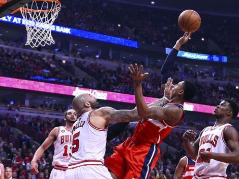 Mike Dinovo/USA Today Sports Wizards guard Bradley Beal makes an off-balance layup in front of Bulls forward Carlos Boozer during Game 2 Tuesday. Beal was pretty hard to stop after a so-so Game 1, a key factor in Washington going up 2-0 in the series.