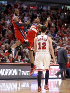 AP/Charles Rex Arbogast The Chicago Bulls/Washington Wizards first round series so far, described in one image.