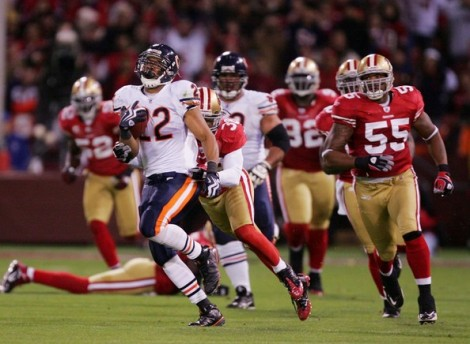 Ezra Shaw/Getty Images Matt Forte eludes the San Francisco 49ers defense in a past game at Candlestick Park. Forte and the Bears will square off in Week 2 as San Francisco opens its new Levi's Stadium.