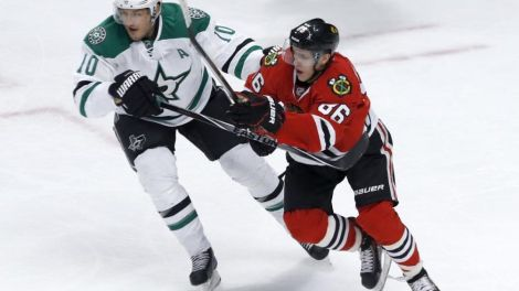 Charles Rex Arbogast/The Associated Press Rookie Teuvo Teravainen (86) from Finland fights a challenge from Dallas Stars center Shawn Horcoff in a recent contest.