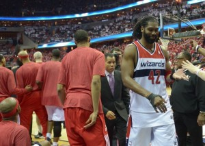 Jonathan Newton/Washington Post Nene sports a smirk walking off the court after being ejected for his confrontation with Jimmy Butler.