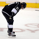 Hans Gutknecht/Los Angeles Daily News  The Kings' Anze Kopitar hangs his head after time expires in Game 6 Friday night.