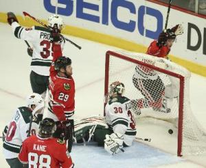 Jeff Wheeler/Minneapolis Star-Tribune Chicago Blackhawks left wing Bryan Bickell (29) scores the game tying goal on a power play during the second period of the Hawks' Game 5 win Sunday night at the United Center.