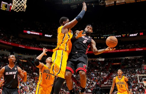 Isaac Baldizon/Getty Images LeBron wants to fly, but the Indiana Pacers and big man Roy Hibbert would rather block Miami's bid for NBA history.