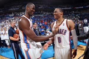 Layne Murdoch/NBAE/Getty Images Serge Ibaka (left) and Russel Westbrook have a lot to smile about after the last two games in the Western Conference Finals.