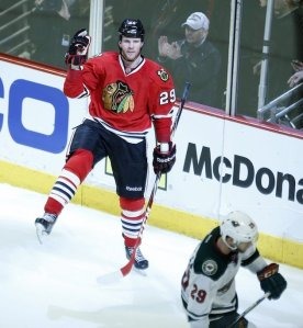 Getty Images Bryan Bickell enjoyed his time Sunday, helping the Hawks win Game 2 against the Minnesota Wild with a 3-point performance.