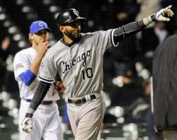 Matt Marton/USA TODAY Sports White Sox shortstop Alexei Ramirez (10) reacts as he scores in the twelfth inning in the Sox win over the Chicago Cubs at Wrigley Field Tuesday evening.