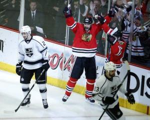 Getty Images Michal Handzus celebrates his game-winning goal in Game 5.
