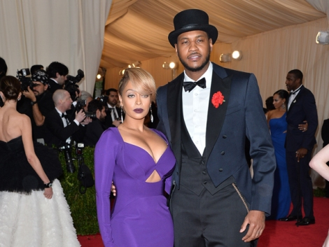 "George Pimentel/WireImage Carmelo Anthony and LaLa Anthony attend the ""Charles James: Beyond Fashion"" Costume Institute Gala at the Metropolitan Museum of Art on May 5."