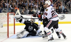 Harry How/Getty Images Quick with a key save of a Bryan Bickell shot in last year's Western Conference Finals.