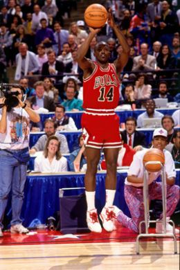 Andrew D. Berstein/NBAE/Getty Images Chicago's own Craig Hodges letting them go during his legendary win at the '91 3-point contest during All-Star Weekend.