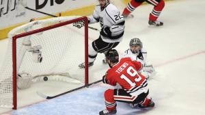 Jerry Lai/USA Today Sports Jonathan Toews scores in the first period of Game 7 Sunday night.
