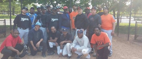 Metro League South Baseball Association Members of the summer baseball league our author competes in and helps run, hes in the upper left corner in the catcher's gear.