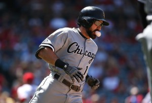 Victor Decolongon/Getty Images Adam Eaton enjoys a piece of bubble gum en route to first base after hitting a single against the Los Angeles Angels last week.