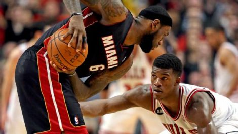 Jonathan Daniel/Getty Images Jimmy Butler's willingness to front players like LeBron James helped get him his first NBA All-Defensive selection this week.