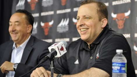 David Banks/USA Today Sports How natural will the smiles on Gar Forman and Tom Thibodeau during their post-draft press conference?