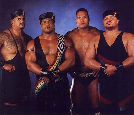 Credit: Wikipedia From left: Kama Mustafa (The Godfather), Faarooq (Ron Simmons), The Rock and D'Lo Brown in the heyday of the Nation of Domination in the late 1990s.