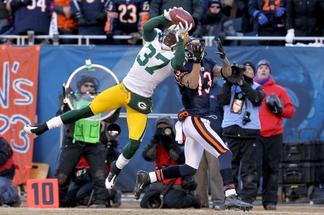Doug Pensinger/Getty Images Sam Shields of the Green Bay Packers intercepts a pass intended for Johnny Knox of the Chicago Bears late in the second quarter in the NFC Championship Game, one of Sidney Brown's toughest losses ever in Chicago sports.