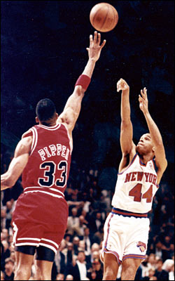 Tom Cruze/Chicago Sun-Times The phantom foul which f-ed up Chicago: Scottie Pippen legally defending Hubert Davis during the closing seconds of Game 5 of the 1994 Eastern Conference semifinals.