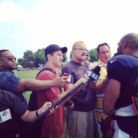 Regal Radio The author of this post, Ken Davis (in glasses), interviews players at Chicago Bears training camp in Bourbonnais, Ill. Friday.
