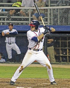 Credit: CB Wilkins New Cubs prospect Victor Caratini at the plate in the minors while a part of the Atlanta Braves' farm system. Atlanta sent him to Chicago in exchange for James Russell and Emilio Benifacio.