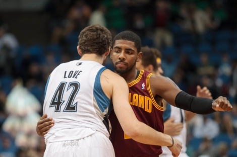 Brad Rempel/USA TODAY Sports Its all love now for Kevin Love and new teammate Kyrie Irving, or at least it should be -- its NBA title or bust now with these two and LeBron in Cleveland.