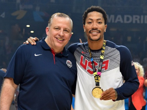 Credit: Drosehoops.com Chicago Bulls coach Tom Thibodeau and star Derrick Rose were happy campers following team USA's gold medal-winning effort in the FIBA World Cup.