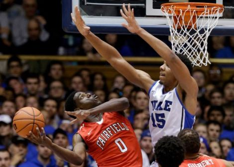 Gerry Broome/AP Jahlil Okafor is just getting started at Duke, the Whitney Young grad will have a chance to make his first big college statement as part of the Tip-Off Marathon on ESPN Tuesday night.