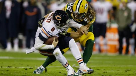 Tom Lynn/Getty Images Jay Cutler is sacked by Clay Matthews of the Green Bay Packers in the second quarter during Sunday night's debacle at Lambeau Field.