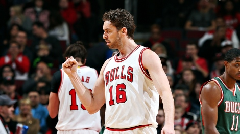 Gary Dineen/NBAE via Getty Images Pau Gasol celebrates a basket during his career-high 46-point performance Saturday against Milwaukee, one of the few positive games for the Bulls this past week.