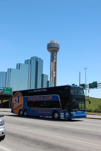 Credit: Megabus.com The Megabus rolling through Dallas, where the College Football Playoff Final will kickoff this Monday.