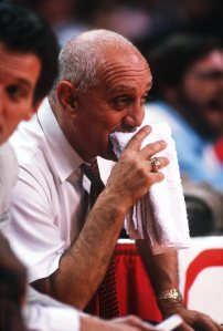 Tim Defrisco/ALLSPORT  The indelible image of long-time UNLV basketball coach Jerry Tarkanian with his towel on the bench.